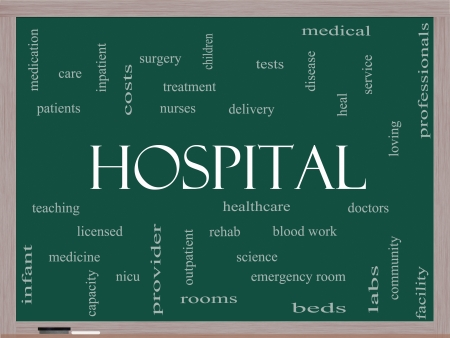 Hospital Word Cloud Concept on a Blackboard with great terms such as doctors, nurses, heal, medicine and more. Stock Photo - 24896506