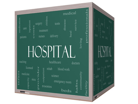Hospital Word Cloud Concept on a 3D Cube Blackboard with great terms such as doctors, nurses, heal, medicine and more. Stock Photo - 24896507