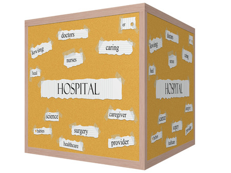 Hospital 3D Cube Corkboard Word Concept with great terms such as caring, doctors, nurses, heal and more. Stock Photo - 24896510