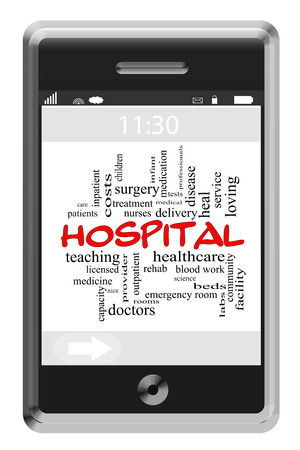surgery expenses: Hospital Word Cloud Concept of Touchscreen Phone with great terms such as doctors, nurses, heal and more.