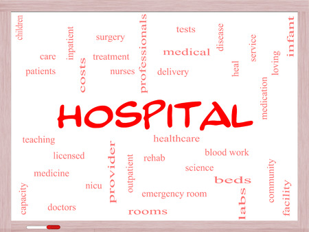 Hospital Word Cloud Concept on a Whiteboard with great terms such as doctors, nurses, heal, medicine and more.