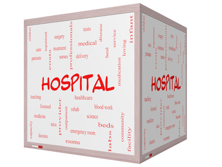 surgery expenses: Hospital Word Cloud Concept on a 3D cube Whiteboard with great terms such as doctors, nurses, heal, medicine and more. Stock Photo