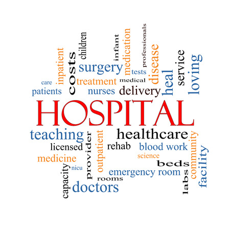 Hospital Word Cloud Concept with great terms such as doctors, nurses, heal, medicine and more. Stock Photo - 24896514