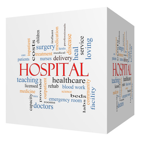 surgery expenses: Hospital 3D cube Word Cloud Concept with great terms such as doctors, nurses, heal, medicine and more.