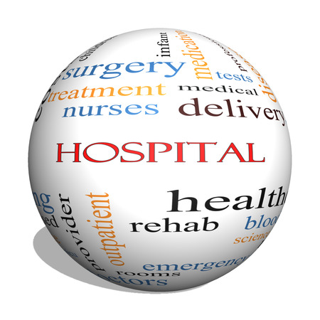 emergency room: Hospital 3D sphere Word Cloud Concept with great terms such as doctors, nurses, heal, medicine and more.