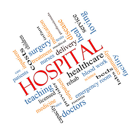 outpatient: Hospital Word Cloud Concept angled with great terms such as doctors, nurses, heal, medicine and more. Stock Photo