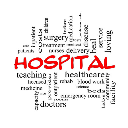 surgery expenses: Hospital Word Cloud Concept in red caps with great terms such as doctors, nurses, heal, medicine and more. Stock Photo