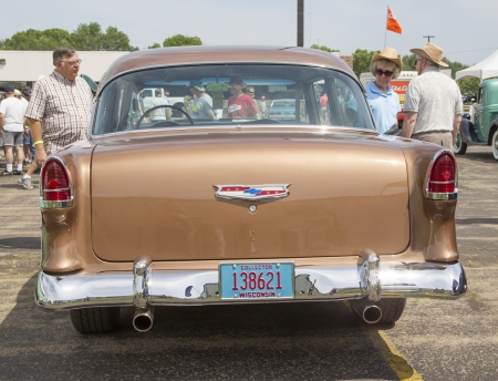 bel air: IOLA, WI - JULY 13:  Back of 1955 Chevy Bel Air Copper color Car at Iola 41st Annual Car Show July 13, 2013 in Iola, Wisconsin. Editorial