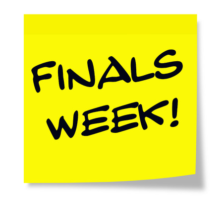 finals: A square yellow sticky note with the words Finals Week making a great school test concept. Stock Photo
