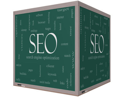 keywords link: SEO Word Cloud Concept on a 3d cube Blackboard with great terms such as search, engine, optimization and more.