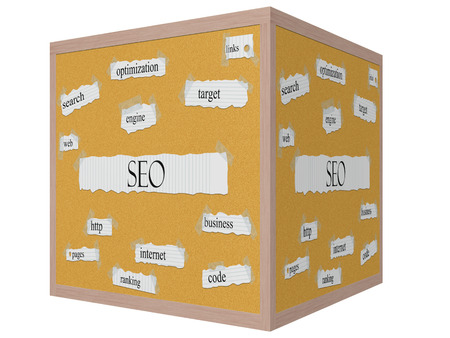 SEO 3D cube Corkboard Word Concept with great terms such as engine, search, target and more.