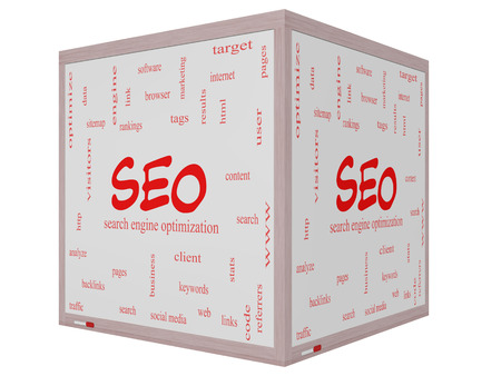 keywords link: SEO Word Cloud Concept on a 3d Cube Whiteboard with great terms such as search, engine, optimization and more.