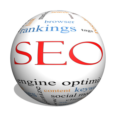 keywords link: SEO 3D sphere Word Cloud Concept with great terms such as search, engine, optimization and more.
