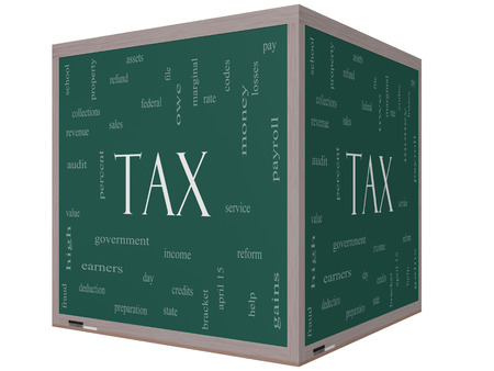 tax bracket: Tax Word Cloud Concept on a 3d cube Blackboard with great terms such as rate, federal, state, income, codes and more. Stock Photo