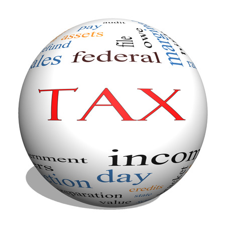 wage earners: Tax 3D sphere Word Cloud Tax Word Cloud Concept angled with great terms such as rate, federal, state, income, codes and more.Concept angled