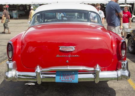 IOLA, WI - JULY 13:  Back of 1954 Red Chevy Bel Air Car at Iola 41st Annual Car Show July 13, 2013 in Iola, Wisconsin.