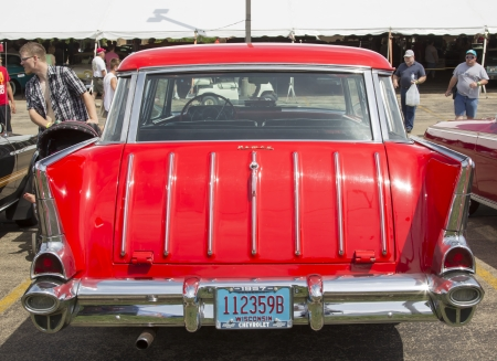 IOLA, WI - JULY 13:  Back of 1954 Red Chevy Nomad Car at Iola 41st Annual Car Show July 13, 2013 in Iola, Wisconsin.