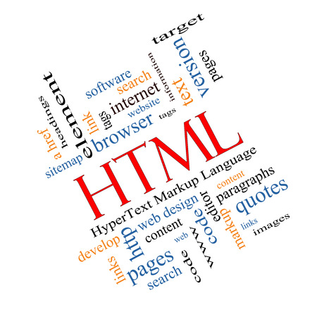 website words: HTML Word Cloud Concept angled with great terms such as hyper, text, language, code and more. Stock Photo