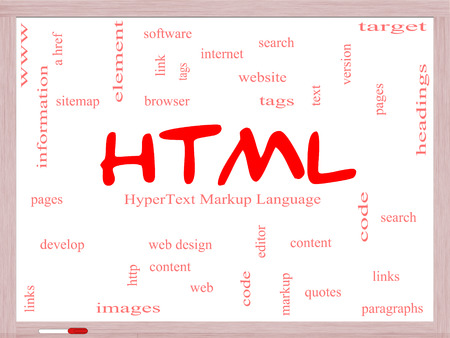 html: HTML Word Cloud Concept on a Whiteboard with great terms such as hyper, text, language, code and more.