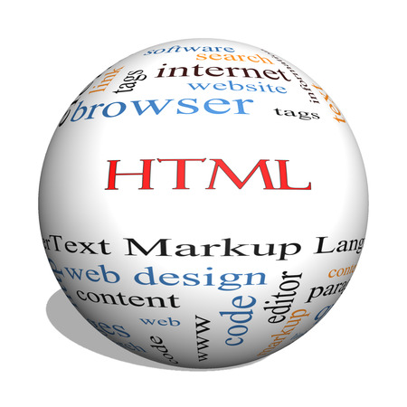 HTML 3D sphere Word Cloud Concept with great terms such as hyper, text, language, code and more.