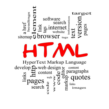 website words: HTML Word Cloud Concept in red caps with great terms such as hyper, text, language, code and more.