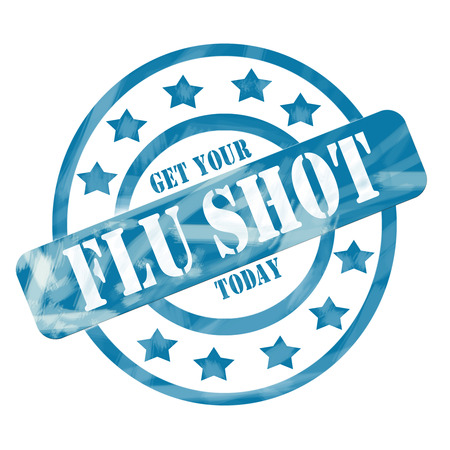 A blue ink weathered roughed up circles and stars stamp design with the words Get Your FLU SHOT Today on it making a great concept.