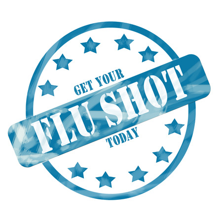flu shot: A blue ink weathered roughed up circle and stars stamp design with the words Get Your FLU SHOT Today on it making a great concept. Stock Photo