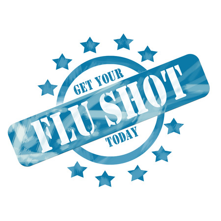 A blue ink weathered roughed up circle and stars stamp design with the words Get Your FLU SHOT Today on it making a great concept. Stockfoto