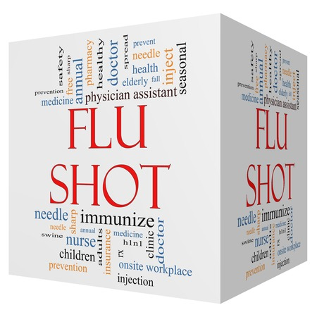 onsite: Flu Shot 3D cube Word Cloud Concept with great terms such as rx, needle, prevention, inject, medicine and more.