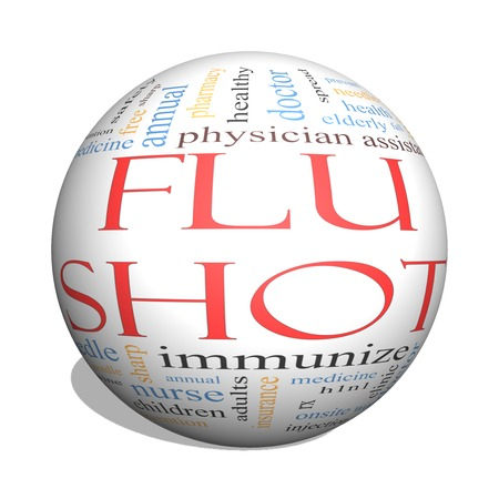 Flu Shot 3D Sphere Word Cloud Concept with great terms such as rx, needle, prevention, inject, medicine and more. photo