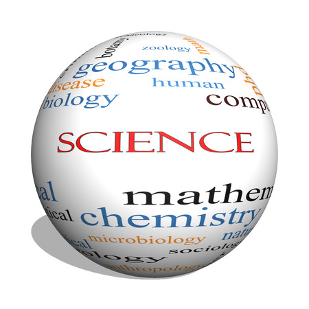 Science 3D Sphere Word Cloud Concept with great terms such as biology, earth, ecology, natural and more. photo