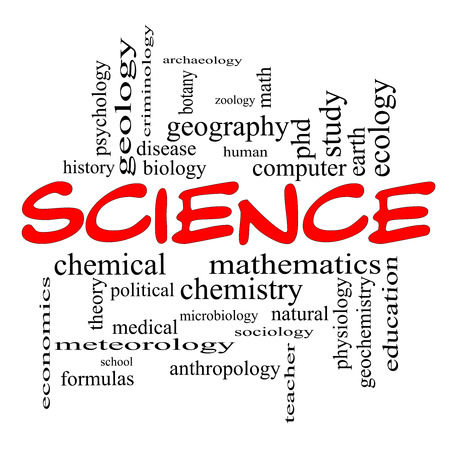 Science Word Cloud Concept in red caps with great terms such as biology, earth, ecology, natural and more. photo