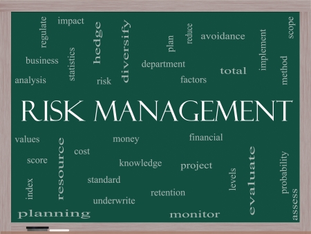 Risk Management Word Cloud Concept on a Blackboard with great terms such as total, factors, levels, financial and more. photo