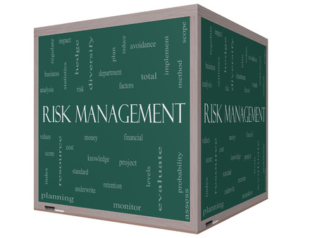 diversify: Risk Management Word Cloud Concept on a 3D cube Blackboard with great terms such as total, factors, levels, financial and more. Stock Photo