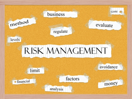 peg board: Risk Management Corkboard Word Concept with great terms such as evaluate, score, avoidance and more. Stock Photo