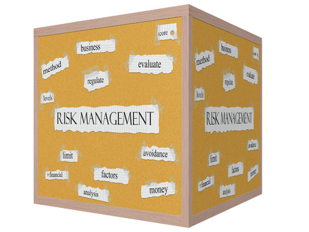 Risk Management 3D cube Corkboard Word Concept with great terms such as evaluate, score, avoidance and more. Stock Photo