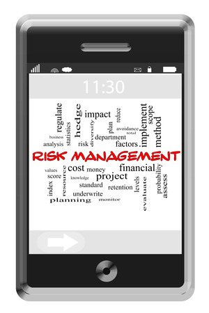 Risk Management Word Cloud Concept of Touchscreen Phone with great terms such as limit, financial, project and more. photo