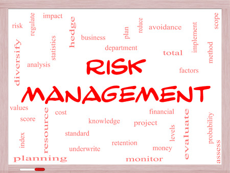 Risk Management Word Cloud Concept on a Whiteboard with great terms such as total, factors, levels, financial and more. photo