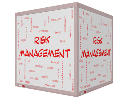 Risk Management Word Cloud Concept on a 3D Cube Whiteboard with great terms such as total, factors, levels, financial and more. photo