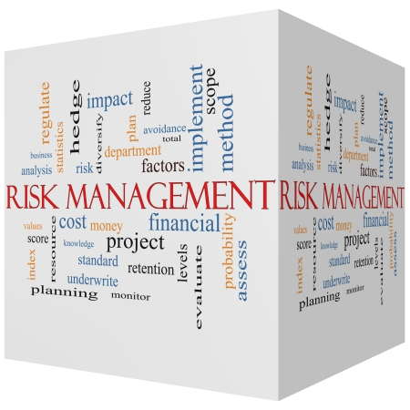 diversify: Risk Management 3D cube Word Cloud Concept with great terms such as total, factors, levels, financial and more.