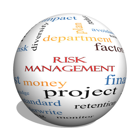 Risk Management 3D sphere Word Cloud Concept with great terms such as total, factors, levels, financial and more. photo