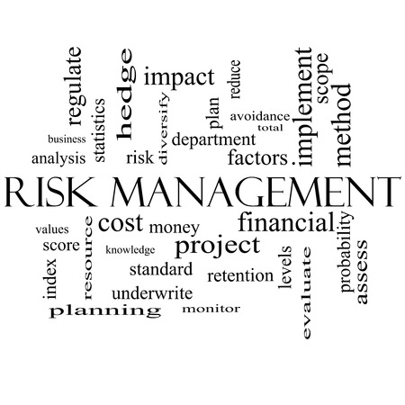 Risk Management Word Cloud Concept in black and white with great terms such as total, factors, levels, financial and more. photo