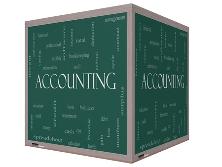 vesting: Accounting 3D cube Word Cloud Concept on a Blackboard with great terms such as debit, loss, audit, yield and more.