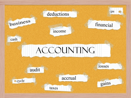 cash cycle: Accounting Corkboard Word Concept with great terms such as business, income, deductions and more. Stock Photo