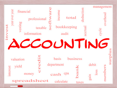 vesting: Accounting Word Cloud Concept on a Whiteboard with great terms such as debit, loss, audit, yield and more.