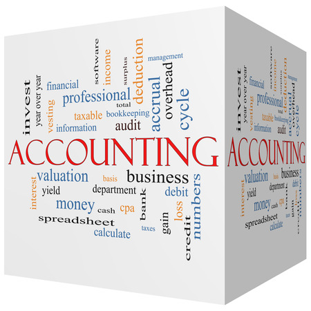 vesting: Accounting 3D cube Word Cloud Concept with great terms such as debit, loss, audit, yield and more.