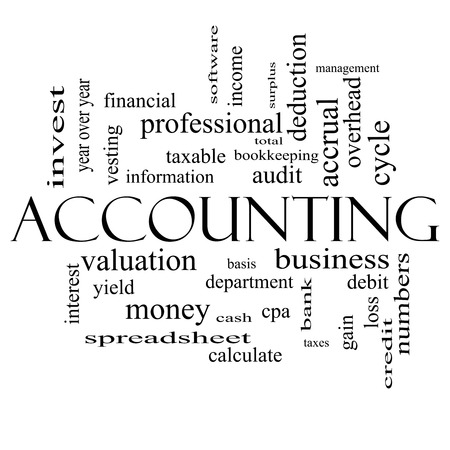 vesting: Accounting Word Cloud Concept in black and white with great terms such as debit, loss, audit, yield and more.