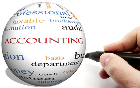 Hand Writing on Accounting Cirlce word concept with terms such as audit, basis, taxable and more.