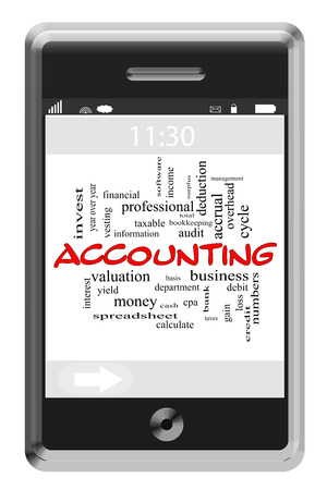 Accounting Word Cloud Concept of Touchscreen Phone with great terms such as basis, taxable, business and more. photo