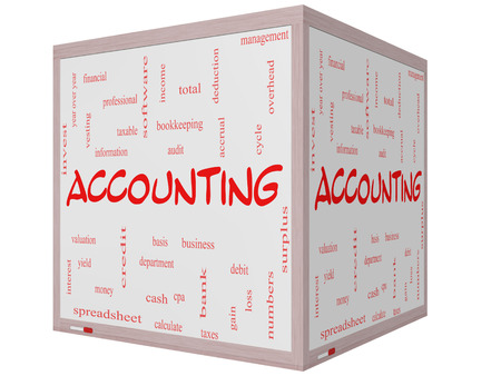 Accounting Word Cloud Concept on a 3D cube Whiteboard with great terms such as debit, loss, audit, yield and more. photo